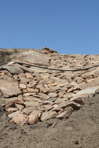 Riprap  lining to control erosion.